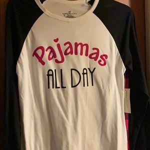 "NWT Bobbie Brooks LS&Pants say ""Pajamas all Day"" S"